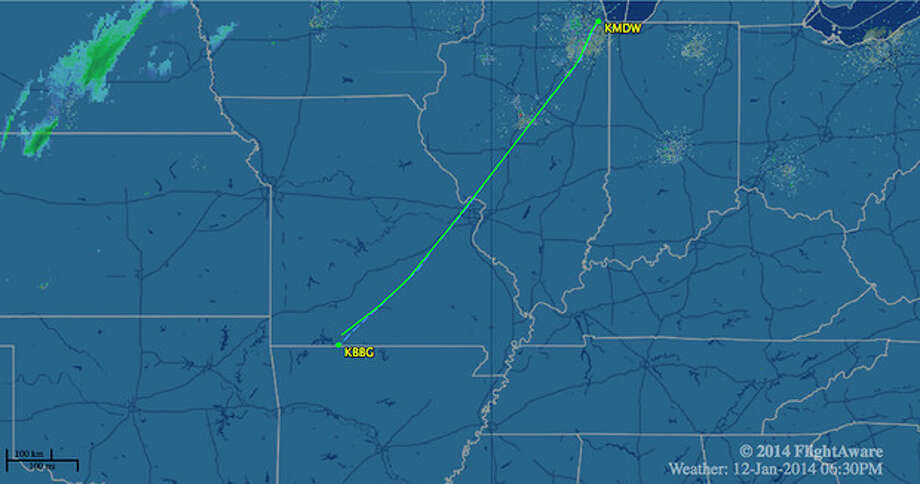 In this image released by FlightAware.com, the flight path of Southwest Airlines Flight 4013 on Sunday, Jan. 12, 2014, is shown. The Southwest Airlines flight, carrying 124 passengers and five crew members, was scheduled to go from Chicago's Midway International Airport to Branson Airport, in Branson, Mo., airline spokesman Brad Hawkins said Sunday in a statement. But the Boeing 737-700 landed at Taney County Airport about 7 miles away that only had about half as much runway. (AP Photo/Courtesy of FlightAware.com) / Courtesy of FlightAware.com
