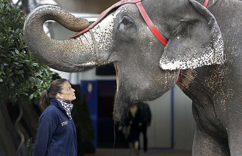 Princess Stephanie of Monaco poses with an elephant during the presentation of the 39th Monte-Carlo International Circus Festival in Monaco, Tuesday, Jan. 13, 2015. The Circus Festival takes place from Jan. 15 to Jan 25. (AP Photo/Lionel Cironneau)