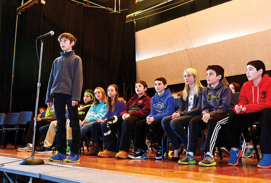 Hour photo / Erik Trautmann Nathan Hale Middle School 6th grader Adam Lipson is stumped during the school's The National Geographic Geography Bee competition Thursday involving 24 students in grades 6, 7 and 8. The winner of the competition will go on to compete at the state level.