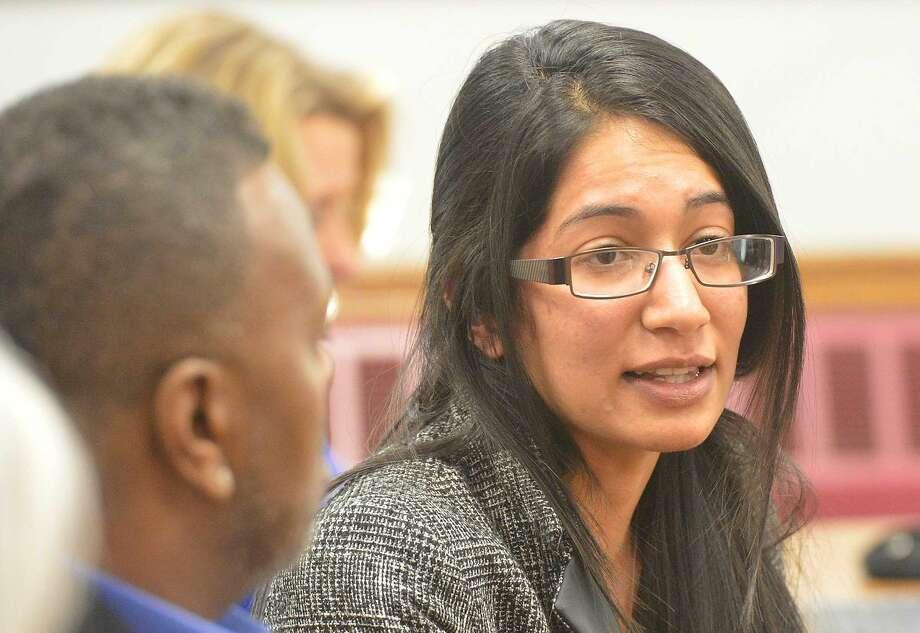 Hour Photo/Alex von Kleydorff NCC Sophmore Reena Gupta talks about how new education bills in Washington will help her through college