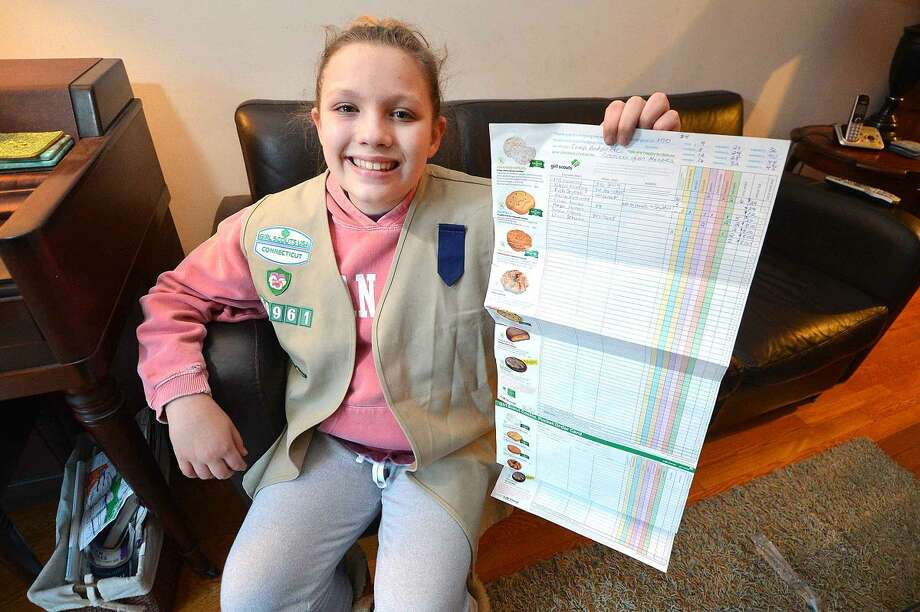 Hour Photo/Alex von Kleydorff 11yr old Morgan Veltri with Girls Scout Troop 50961 holds her order form for this years cookie sales