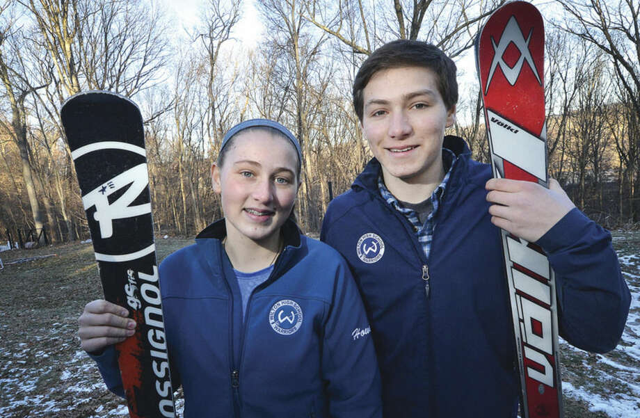 Photo by Alex von KleydorffSiblings Haley, left, and Will Howard are the top skiers for the Wilton High School ski team this winter.