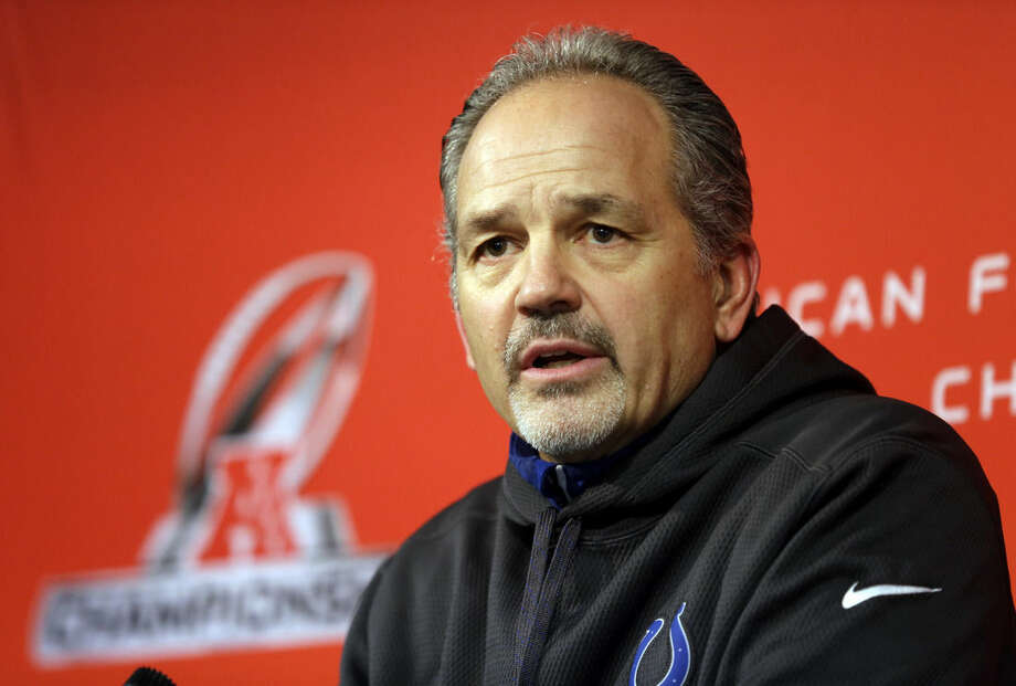 Indianapolis Colts head coach Chuck Pagano answers a question during a press conference at the NFL team's practice facility in Indianapolis, Thursday, Jan. 15, 2015. The Colts face the New England Patriots in Sunday's AFC Championship. (AP Photo/Michael Conroy)