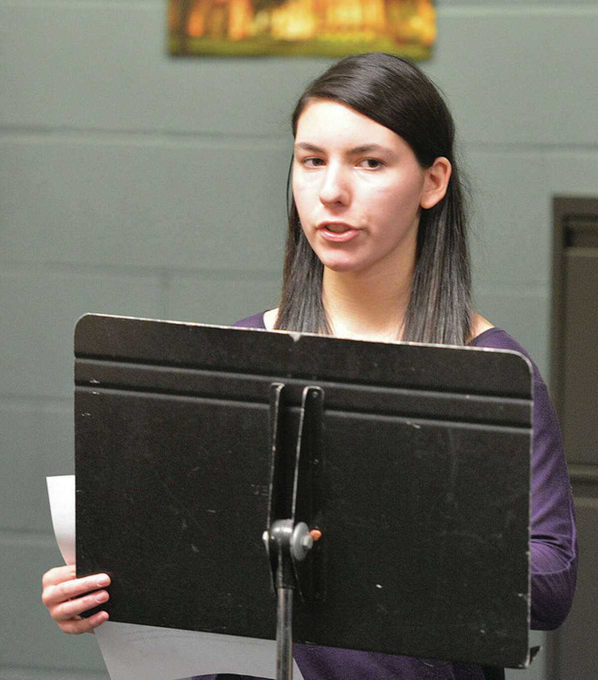 Hour Photo/Alex von Kleydorff Brien McMahon High School Junior Patricia Rodican speaks about the Center for Youth Leadership's involvement in National Human Trafficking Awareness Month.