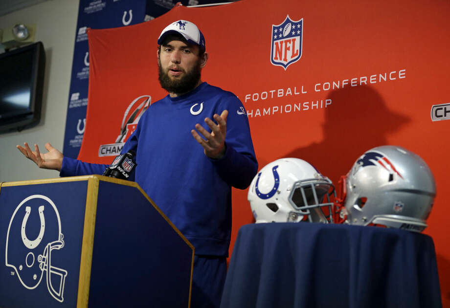 Indianapolis Colts quarterback Andrew Luck answers a question during an NFL football press conference at the team's practice facility in Indianapolis, Wednesday, Jan. 14, 2015. The Colts face the New England Patriots in Sunday's AFC Championship in Foxborough, Mass. (AP Photo/Michael Conroy)