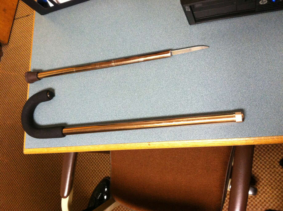 Contributed photo A city man was arrest Friday at Norwalk Superior Court after trying to bring a weaponized cane (above) into the courthouse.