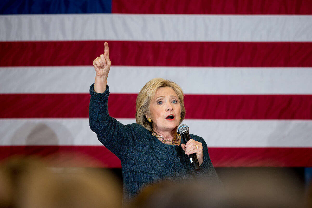 Democratic presidential candidate Hillary Clinton speaks at a rally at BR Miller Middle School in Marshalltown, Iowa, Tuesday, Jan. 26, 2016. (AP Photo/Andrew Harnik)