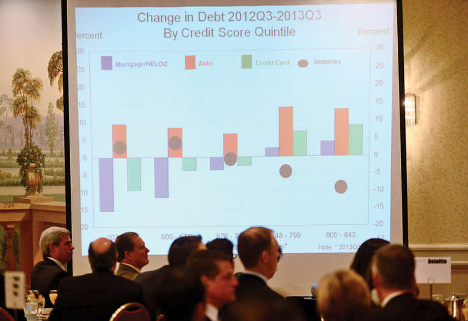 Hour photo / Erik Trautmann Rae Rosen, Vice President and Regional Economist, Federal Reserve Bank of New York, provides an in-depth look at the tri-state economic outlook, with special emphasis on Fairfield County during the Business Council of Fairfield County National Economic Outlook breakfast at the Stamford Marriot Wednesday morning.