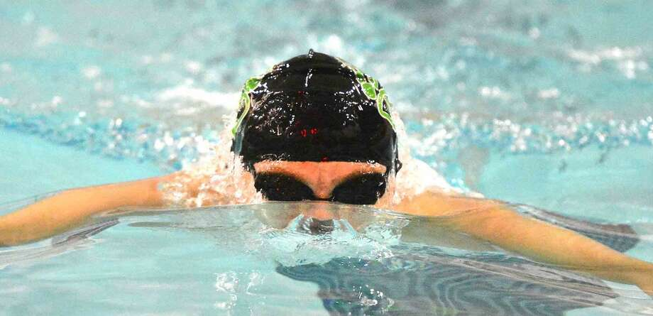 Hour Photo/Alex von Kleydorff Kyle Lumsden swims the Breast stroke in the 200IM vs Trumbull