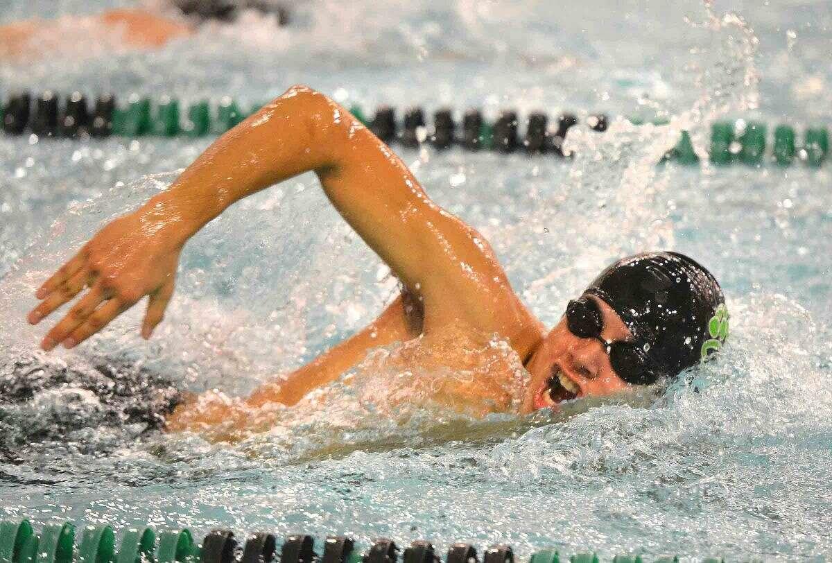 Hour Photo/Alex von Kleydorff Pablo Chajon swims the 200 Free vs Trumbull