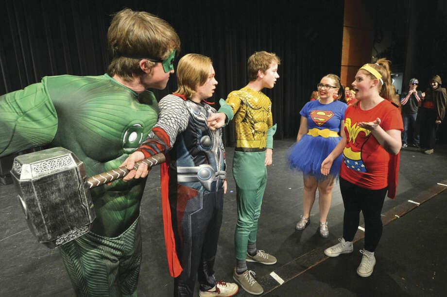 Hour Photo/Alex von Kleydorff Jack Heinemann, Joe Wallace, Elliott Connors, Isabel Pantoliano and Julia Siewert in Wilton High Schools Superheroes Senior Class show