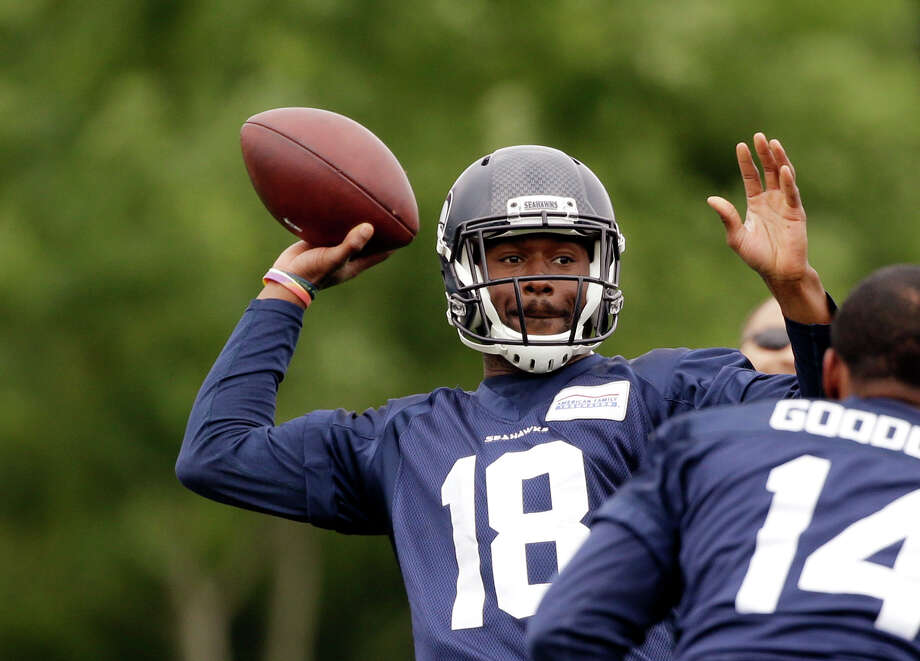 """Offseason MVPHe may be well down on any list of potential difference-makers for the Seahawks, but second-year wide receiver Kasen Williams stood out throughout the offseason. The former local high school legend and University of Washington receiver looked quick and explosive more than two-and-a-half years removed for a horrific college injury. The 6-foot-1, 219-pounder made several standout plays throughout organized team activities (OTAs) and minicamp, and seems at this point like a safe bet to make the 53-man roster -- provided he can carve out a spot for himself on special teams.""""His focus on his craft -- not that it wasn't there before -- but obviously the more reps you get, the more time you have to perfect your craft,"""" fellow receiver Doug Baldwin said of Williams in OTAs. """"He's learning the tricks of the trade now, so he's advancing."""" Photo: Elaine Thompson/AP"""