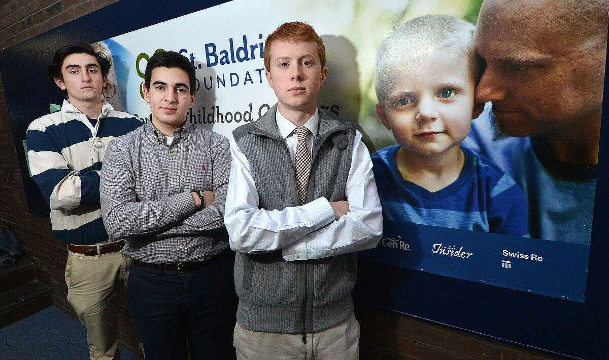 From left to right:Jack House, Cooper Pellaton and Colin DeFelice are helping organize Wilton High School's