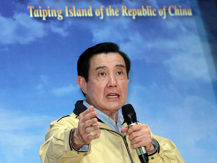 Taiwan's President Ma Ying-jeou speaks to the media during a briefing following his visit to Taiping island, also known as Itu Aba, in Taipei, Taiwan, Thursday, Jan. 28, 2016. Outgoing President Ma, defying a rare criticism from key ally the United States, visited the island in the disputed South China Sea on Thursday to emphasize Taiwan's sovereignty claims in the increasingly tense region. (AP Photo/Chiang Ying-ying)