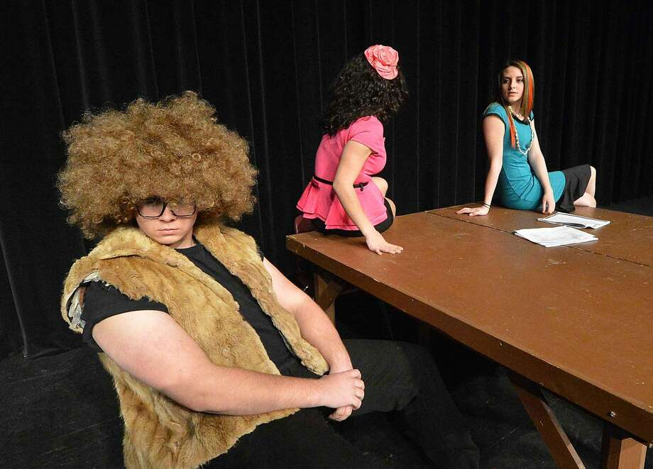 """Guilty as charged? BB Wolf aka Charlie Jankowski is questioned by his lawyer Peep (Gabby Pucci) and Merm (Aine Duffy) for Wilton High School's Senior Show, """"Law and Order: Fairy Tale Unit."""""""