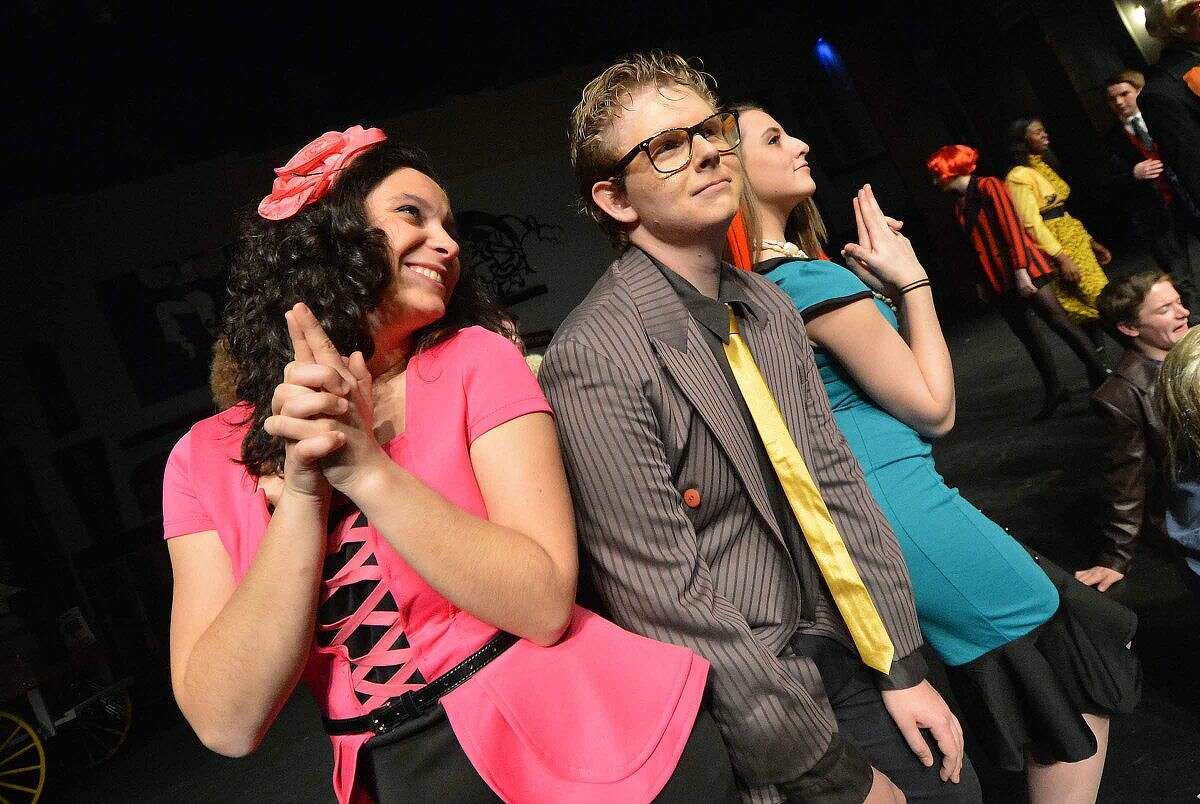 Defense Attorney Peep, played by Gabby Pucci, squares off against the posecution, Slitskin (Endy Perry) and Merm (Aine Duffy), for Wilton High School's Senior Show,