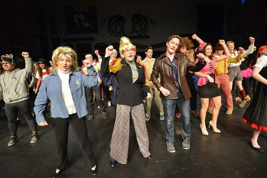"Jordan Mason, Irish Harvey and Colin Hussey in Wilton High School's Senior Show, ""Law and Order: Fairy Tale Unit."""