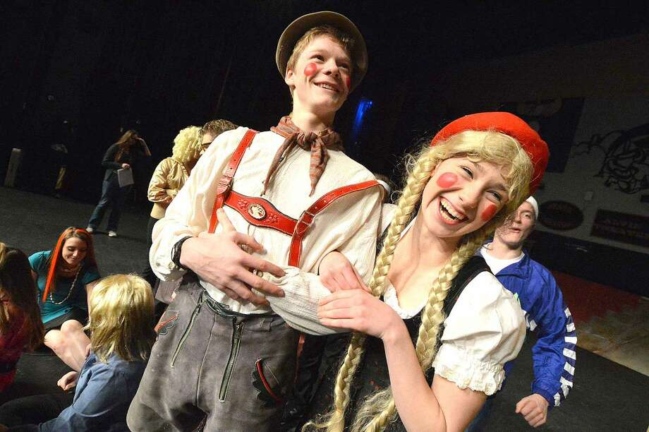 "Hansel and Gretel, played by David Sandor and Caitlin Witty, in Wilton High School's Senior Show, ""Law and Order: Fairy Tale Unit."""