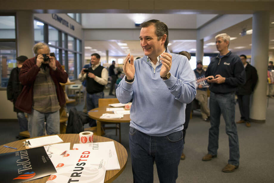 Republican presidential candidate, Sen. Ted Cruz, R-Texas smiles while listening to his introduction at a campaign event, Friday, Jan. 29, 2016, in Emmetsburg, Iowa. (AP Photo/Jae C. Hong)