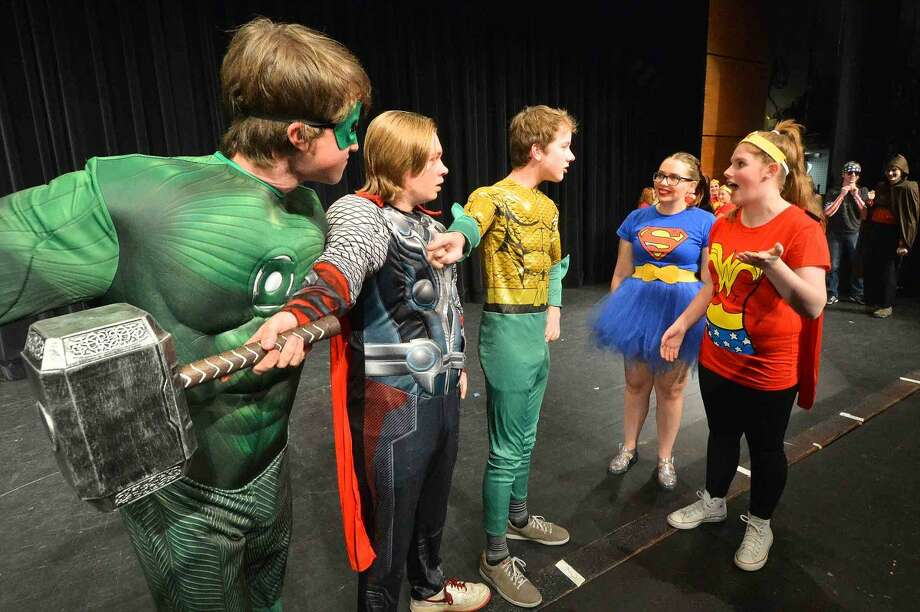 "Jack Heinemann, Joe Wallace, Elliott Connors, Isabel Pantoliano and Julia Siewert in Wilton High School's Senior Class Show ""Superheroes."""