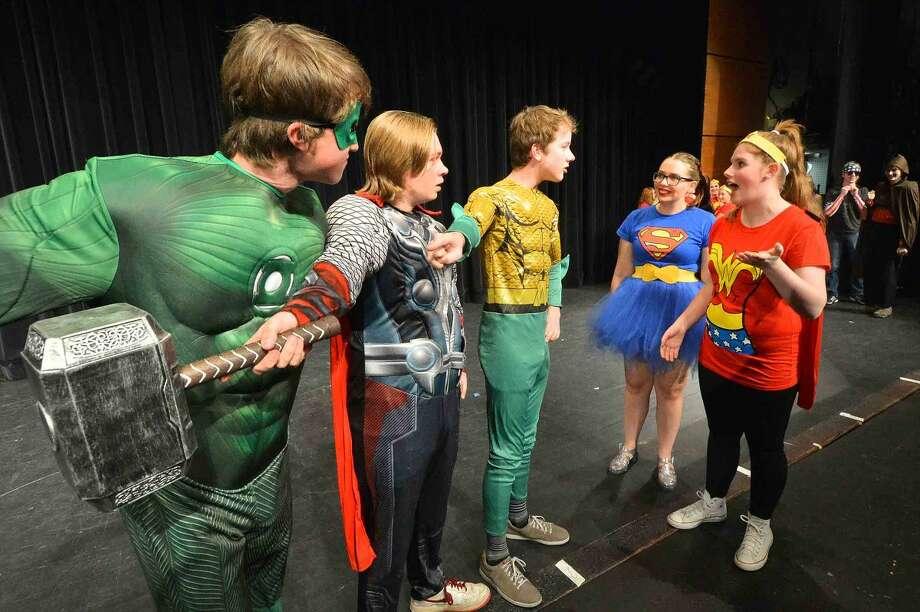 "Jack Heinemann, Joe Wallace, Elliott Connors, Isabel Pantoliano and Julia Siewert in Wilton High School's Senior Class Show ""Superheroes."""
