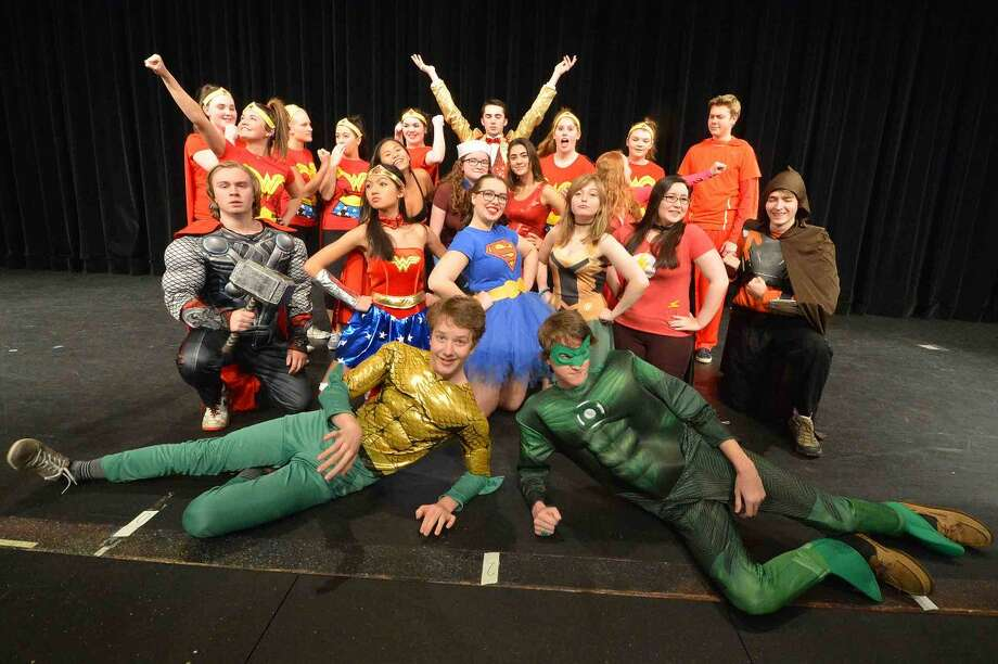 """The cast of """"Superheroes""""join forces for Wilton High School's Senior Class Show."""