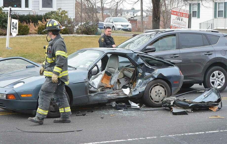 Hour Photo/Alex von Kleydorff Porsche 928 involved in a multi vehicle accident on East Ave on Wednesday