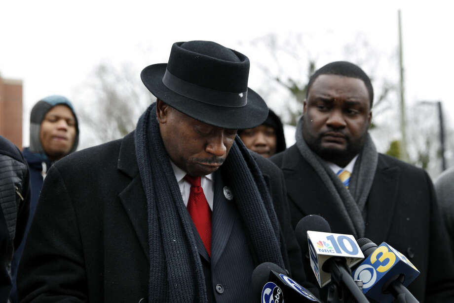Steven Young, president of the Atlantic City Chapter of the National Action Network, pauses during a news conference, Wednesday, Jan. 21, 2015, in Bridgeton, N.J., after police dashboard camera footage was released from the Dec. 30, 2014 shooting of Jerame Reid during a traffic stop in Bridgeton. (AP Photo/Mel Evans)