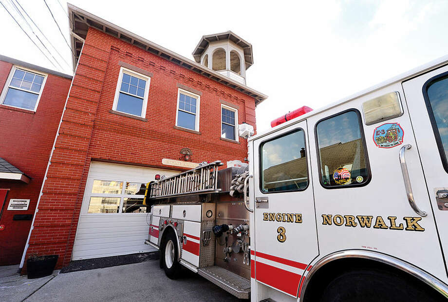 Hour photo / Erik Trautmann The oldest fire station in the city is station 3, built for the Mayflower Hook and Ladder Volunteer Company in the 1890's, and is undergoing extensive restorative effort led by the firefighters who work there.