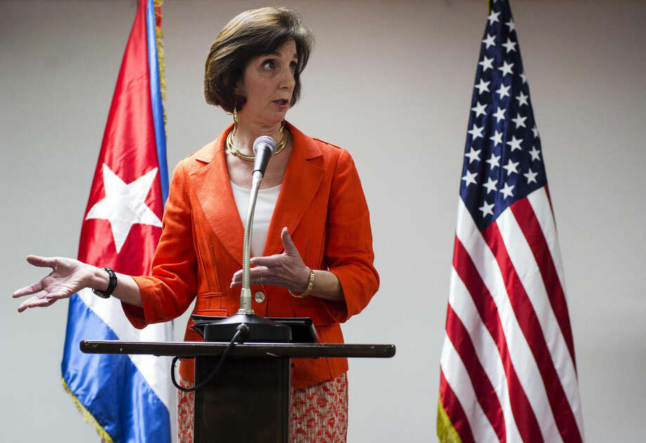 Assistant Secretary of State of the Bureau of Western Hemisphere Affairs Roberta S. Jacobson talks during a press briefing during the second day of talks with Cuban officials, in Havana, Cuba, Thursday, Jan. 22, 2015. The United States and Cuba are trying to eliminate obstacles to normalized ties as the highest-level U.S. delegation to the communist island in more than three decades holds a second day of talks with Cuban officials. (AP Photo/Ramon Espinosa)