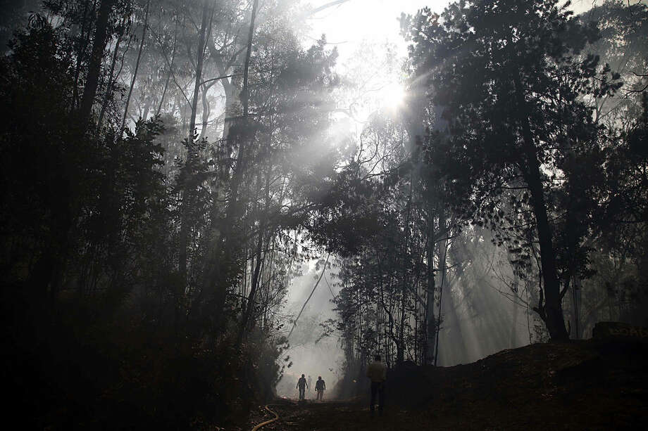 Rescue workers and firefighters walk towards an active fire in a forest area on the mountains surrounding Bogota, Colombia, Monday, Feb. 1, 2016. Most of the country is under red alert because of water shortages and risk of wildfires. El Niño-related effects have intensified the regional dry season and there has been a record lack of rainfall this year. (AP Photo/Fernando Vergara)