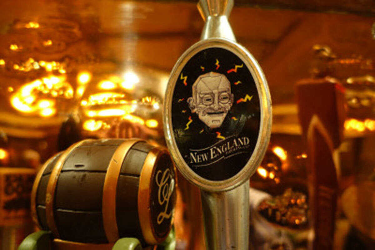 Hour photo/Jeff Dale New England Brewing Co.'s Gandhi-Bot on tap at The Gingerman in SoNo. The brewery announced Friday they'd be changing the name due to an ongoing controversy.