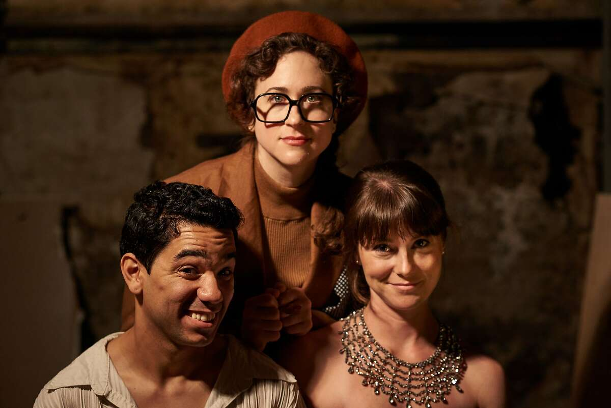 Prince (Edwin Ortiz,�left), Odette (KC Gleason,�right) and�Barri Cantaloupe�(Becky Hirschfeld, center) the director of the Shakespearean musical theater adaptation of Swan Lake and winner of best-up-and-coming-director ten years in a row.