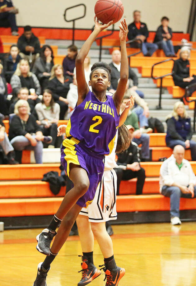Westhill's #2, Iyanna Lups, takes a shot during a game against Stamford at Stamford High School Monday evening. Hour Photo / Danielle Calloway