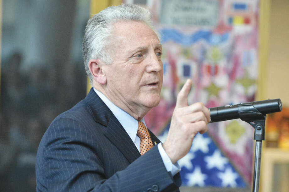 Hour photo/Alex von KleydorffAt the Stamford Government Center, Norwalk Mayor Harry Rilling talks to the crowd of students during a press conference on National Teen Dating Violence Awareness Month.