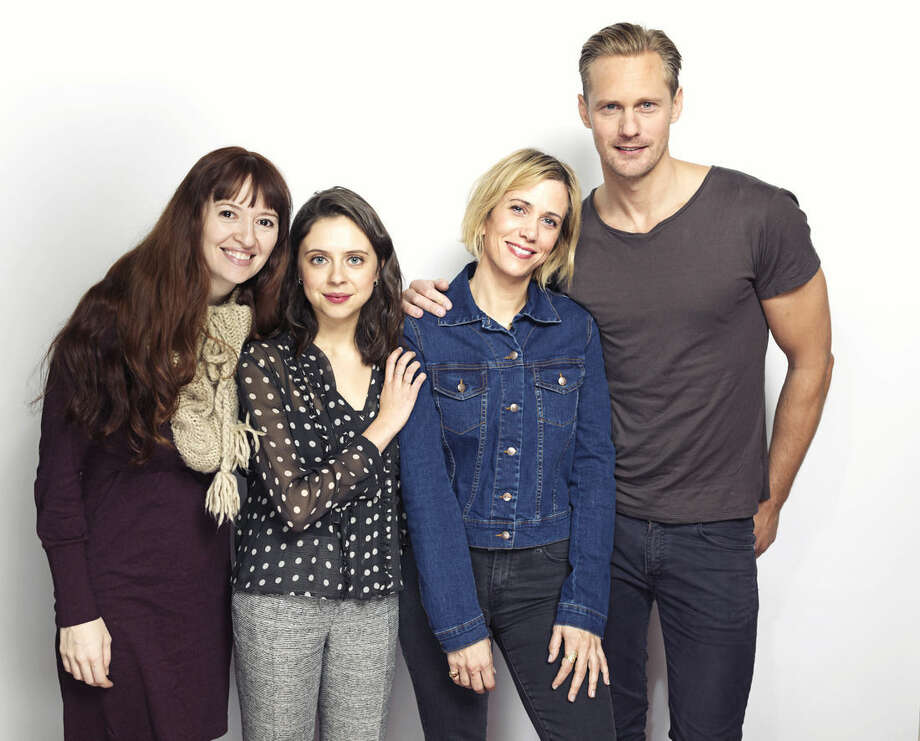 "Director Marielle Heller, from left, Bel Powley, Kristen Wiig and Alexander Skarsgard pose for a portrait to promote the film, ""The Diary of a Teenage Girl"", at the Eddie Bauer Adventure House during the Sundance Film Festival on Friday, Jan. 23, 2015, in Park City, Utah. (Photo by Victoria Will/Invision/AP)"