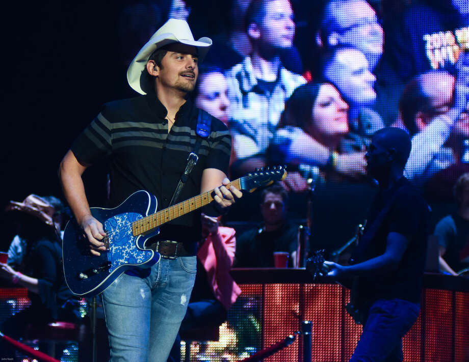 Hour photo/John Nash - Country star Brad Paisley played for a sold-out Mohegan Sun Arena on Sunday night.