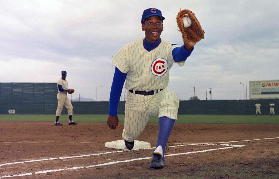 FILE - In this 1967 file photo, Chicago Cubs' Ernie Banks poses in uniform. The Cubs announced Friday night, Jan. 23, 2015, that Banks had died. The team did not provide any further details. Banks was 83. (AP Photo/Harold Filan, File)
