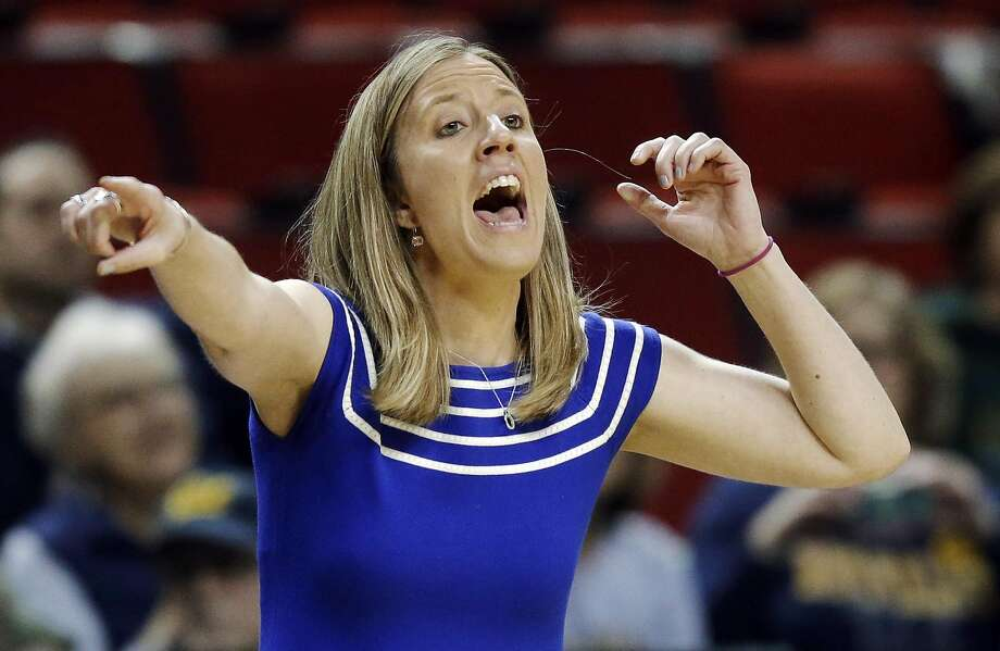 California head coach Lindsay Gottlieb calls to her team in the first half of an NCAA college basketball game against Utah in the Pac-12 Conference tournament, Thursday, March 3, 2016, in Seattle. (AP Photo/Ted S. Warren) Photo: Ted S. Warren, AP