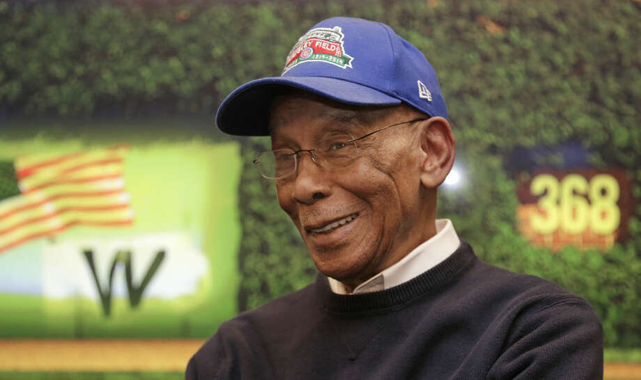 FILE - In this March 24, 2014, file photo Chicago Cubs' Hall of Fame slugger Ernie Banks talks during an interview at the Cubs offices in Chicago. The Cubs announced Friday night, Jan. 23, 2015, that Banks had died. The team did not provide any further details. Banks was 83. (AP Photo/M. Spencer Green, File)