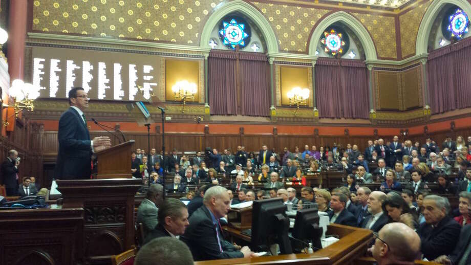 Gov. Dannel P. Malloy delivers his State of the State address to the opening session of the 2016 legislature.