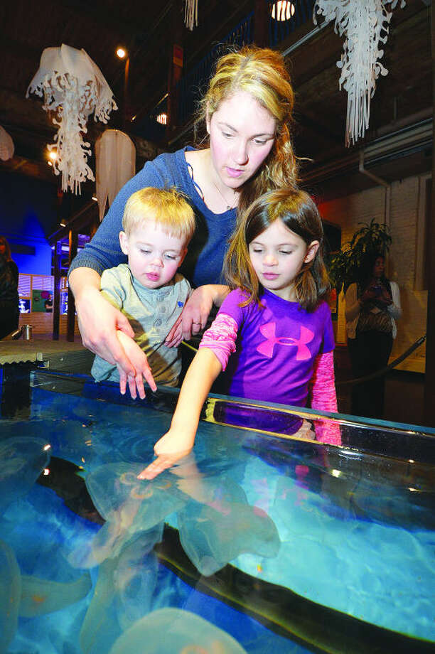 Hour Photo/Alex von Kleydorff Katie Smolinsky holds on to 2yr old Sam as 5yr old Molly reaches for a Moon Jelly at the Maritime Aquariums new exhibit ' Jiggle a Jelly'