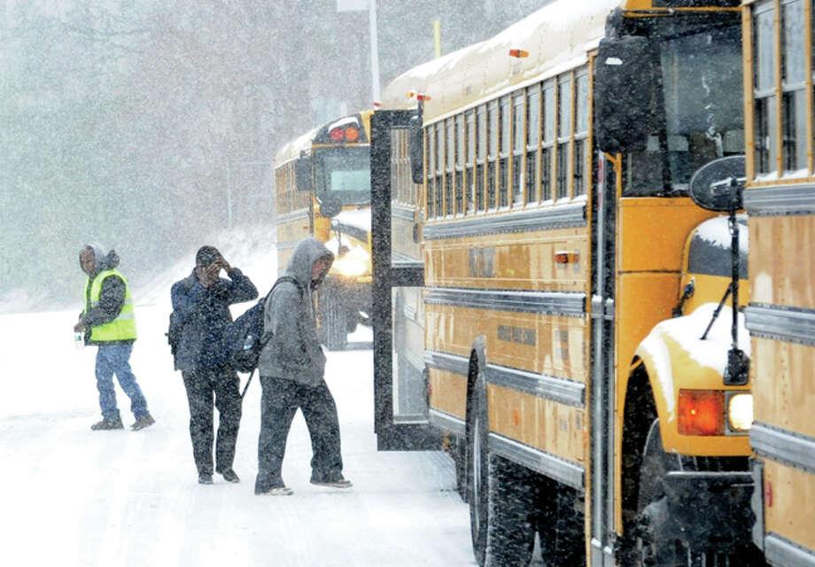 Early dismissal Tuesday at Brien MvMahon High School. Hour photo/Matthew Vinci