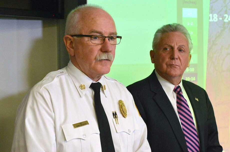 Hour Photo/Alex von Kleydorff Fire Chief Denis McCarthy speaks to the media after a meeting of the Office of Emergency Management at fire Headquarters on Monday afternoon