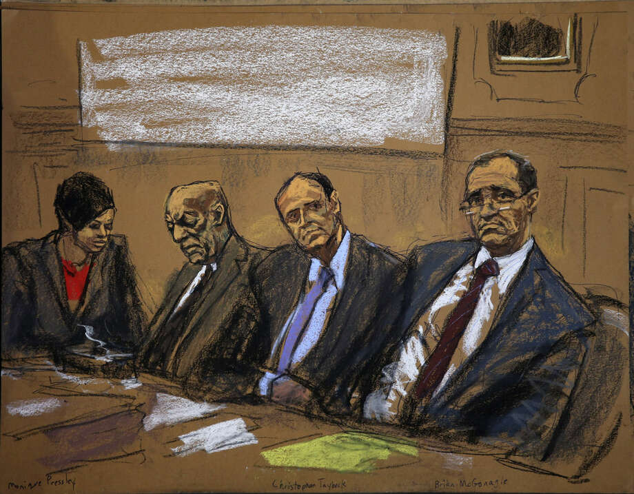 In this courtroom sketch, attorneys Monique Pressley, left, Brian McMonagle, right, and Christopher Taybeck, second right, listen along with their client Bill Cosby, during Cosby's court appearance Tuesday, Feb. 2, 2016, in Norristown, Pa. Cosby was arrested and charged with drugging and sexually assaulting a woman at his home in January 2004. (Jane Rosenberg via AP)