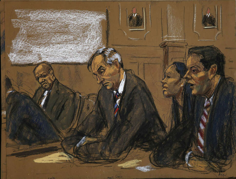 In this courtroom sketch, Bill Cosby, left, looks at Kevin R. Steele, second left, First Assistant District Attorney in the Montgomery County, and prosecutors Kristen Feden, second right, and Stewart Ryan, right, during Cosby's court appearance Tuesday, Feb. 2, 2016, in Norristown, Pa. Cosby was arrested and charged with drugging and sexually assaulting a woman at his home in January 2004. (Jane Rosenberg via AP)