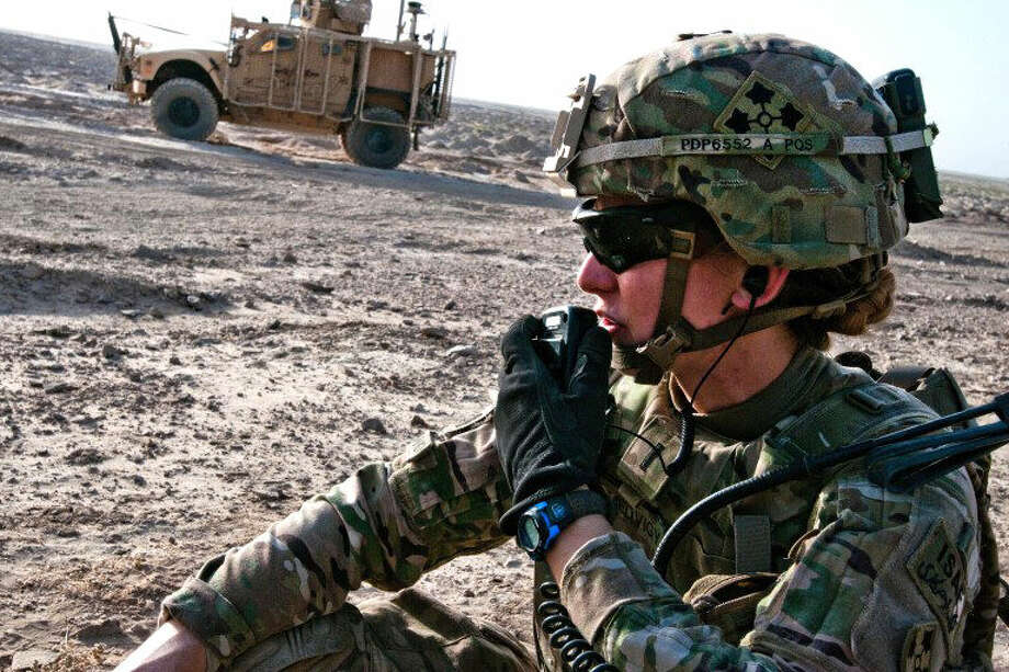 U.S. Army photoU.S. Army 1st Lt. Elyse Ping Medvigy conducts a call-for-fire during an artillery shoot south of Kandahar Airfield, Afghanistan, in 2014. Medvigy was the first woman company fire support officer to serve in an infantry brigade combat team in the war in Afghanistan.