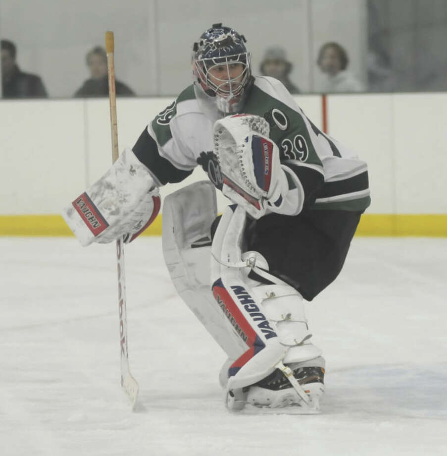Hour photo/John NashConnecticut Oilers goaltender Etienne Roy has arrived on the scene to bolster the Norwalk club's last line of defense. He's also hoping to parlay success with the Oilers into an opportunity to land a spot in college hockey.