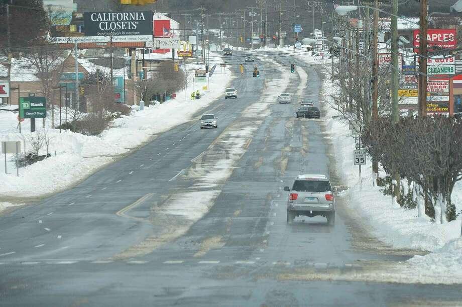 Hour Photo/Alex von Kleydorff Westport Ave. in Norwalk is quiet on Tuesday afternoon