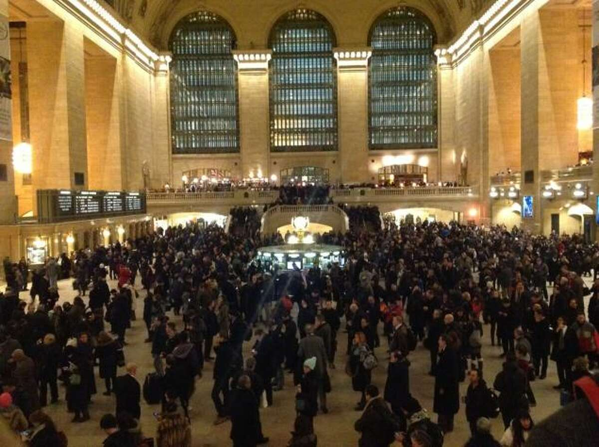 Commuters are backed up at Grand Central Station Thursday night after Metro-North shutdown.